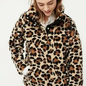 J Crew Sherpa Fleece Sweatshirt Sweater in Leopard